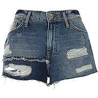 Short en jean bleu authentique déchiré avec empiècements