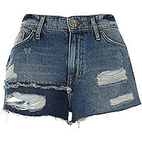Blauwe authentieke ripped denim short met patchwork