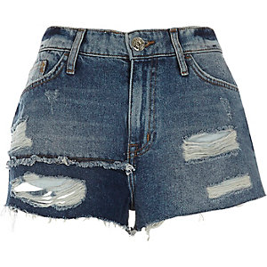 Blue authentic ripped patchwork denim shorts