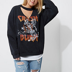 Plus black rock band print choker sweatshirt