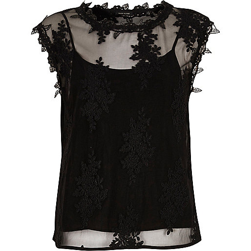 Black sleeveless lace and mesh top