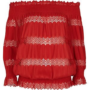Red lace shirred bardot top