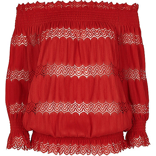 Red lace shirred bardot top