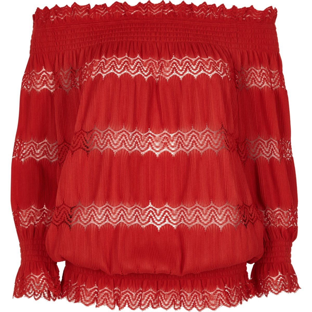 Red lace shirred bardot top - Tops - Sale - women