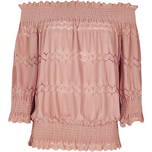 Light pink shirred bardot top