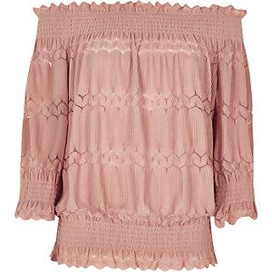 Top Bardot froncé rose clair