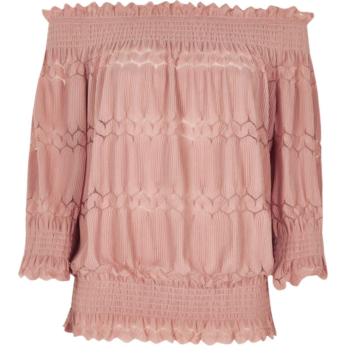 Light pink shirred bardot top