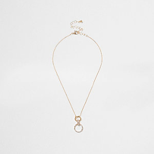 Gold tone rhinestone circle drop necklace