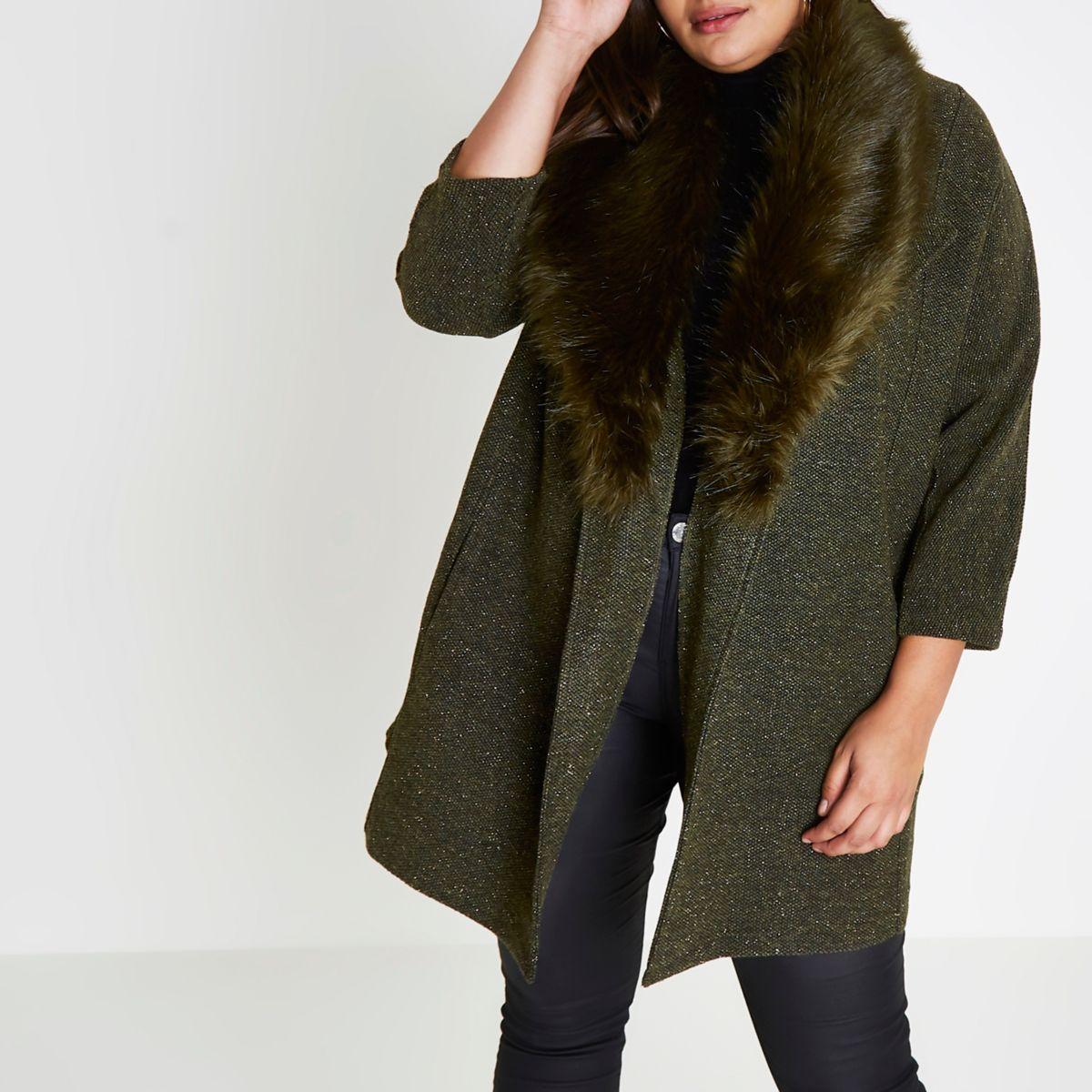 Plus khaki glitter faux fur collar blazer