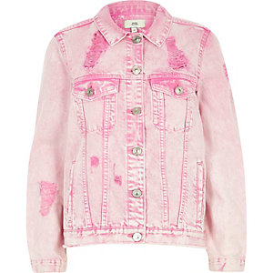 Pink acid wash ripped oversized denim jacket