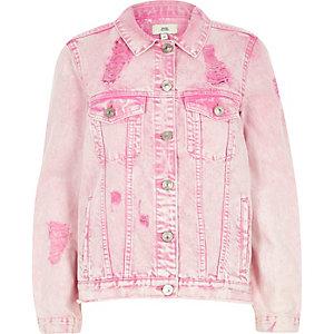 Veste oversize en jean rose délavé à l'acide déchirée
