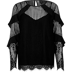 Black lace frill long sleeve top