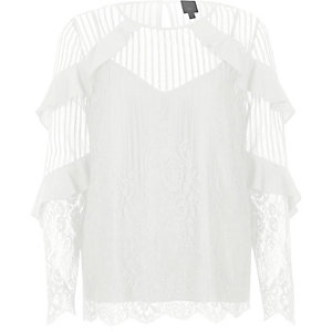 White lace frill long sleeve top