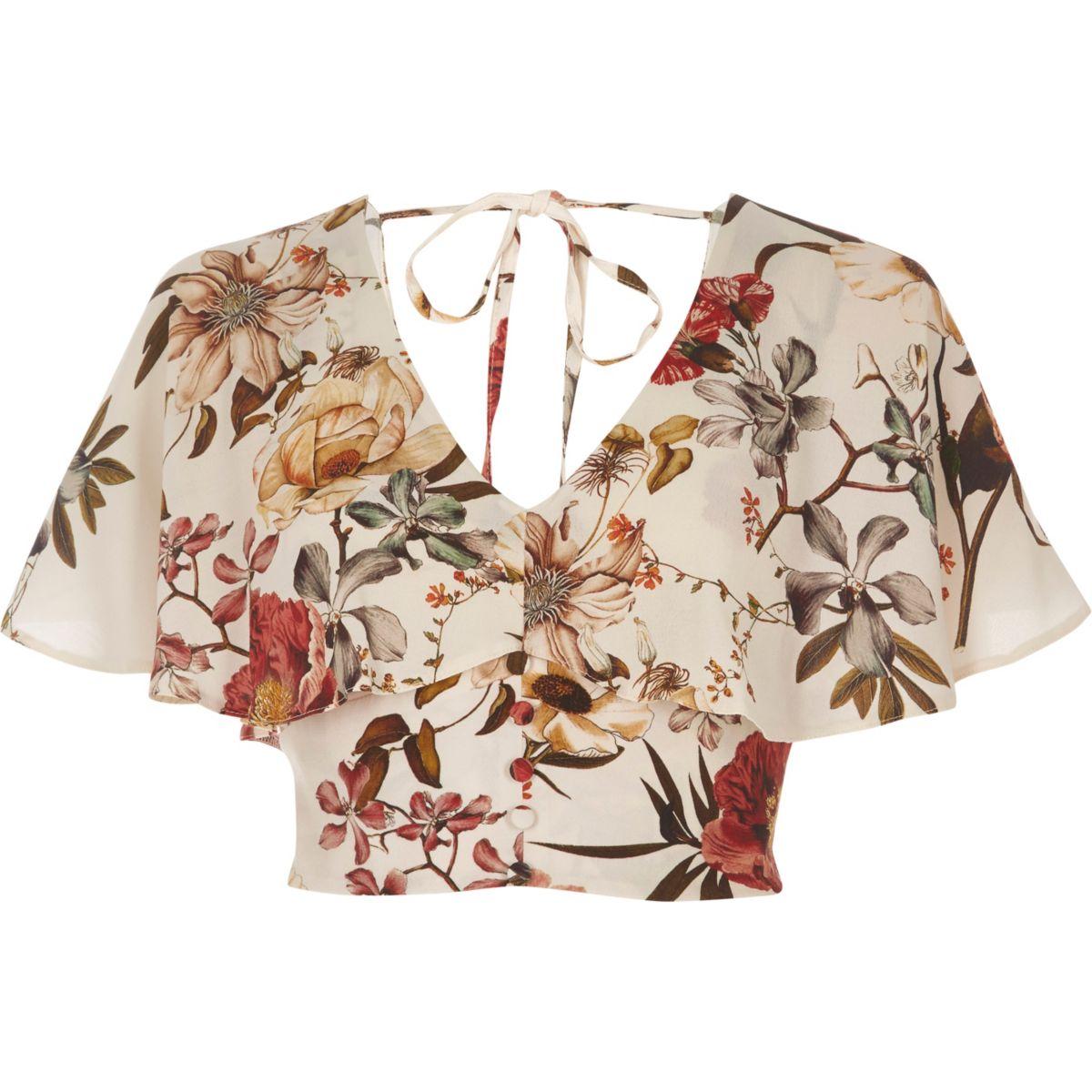 Cream floral print cape crop top