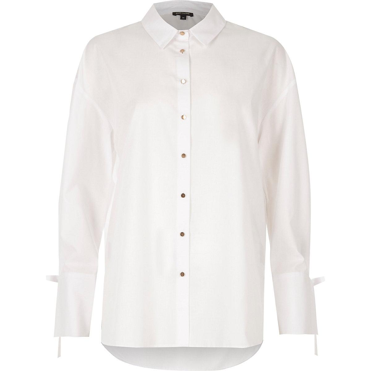5825828336484 White tie cuff oversized shirt - Shirts - Tops - women