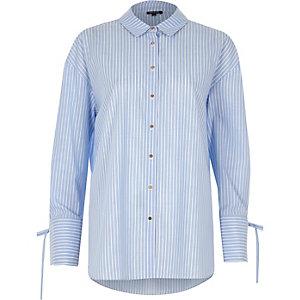 Blue stripe print tie cuff oversized shirt