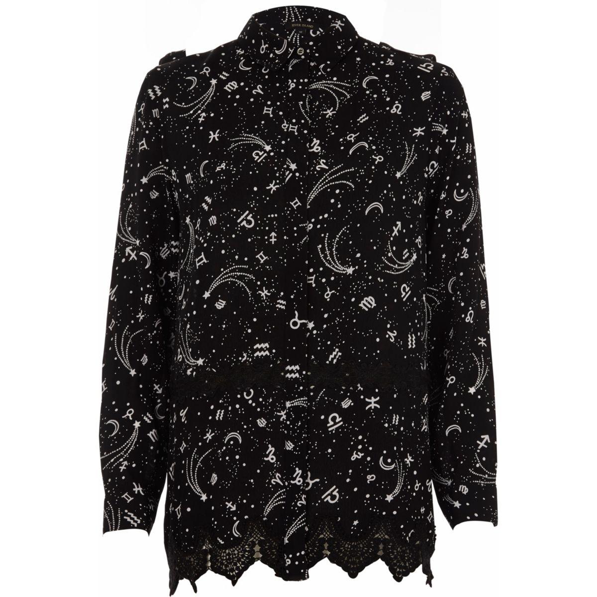 Black zodiac print lace insert shirt