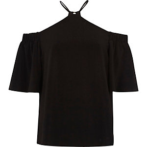 Black cross neck cold shoulder top