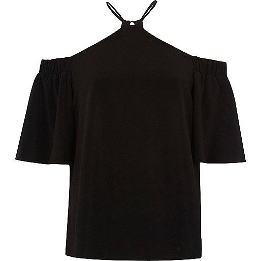 Zwarte schouderloze top met gekruiste bandjes