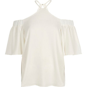 White cross neck cold shoulder top