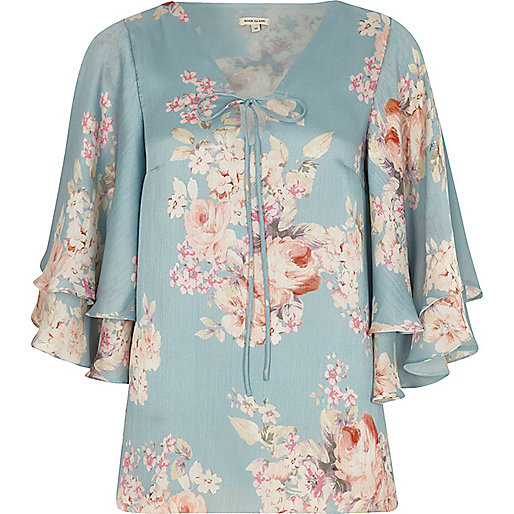 Blue floral print frill sleeve top