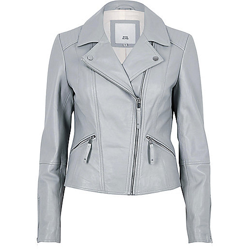 Grey leather biker jacket