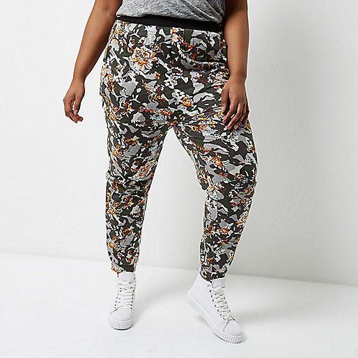 Plus grey camo and floral jersey joggers