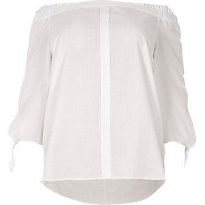 Plus white tie sleeve bardot shirt