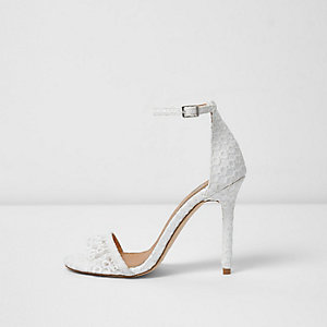White lace barely there sandals
