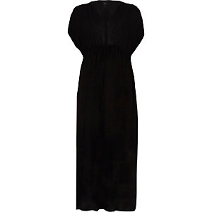 Black ruched sleeve tie waist maxi dress