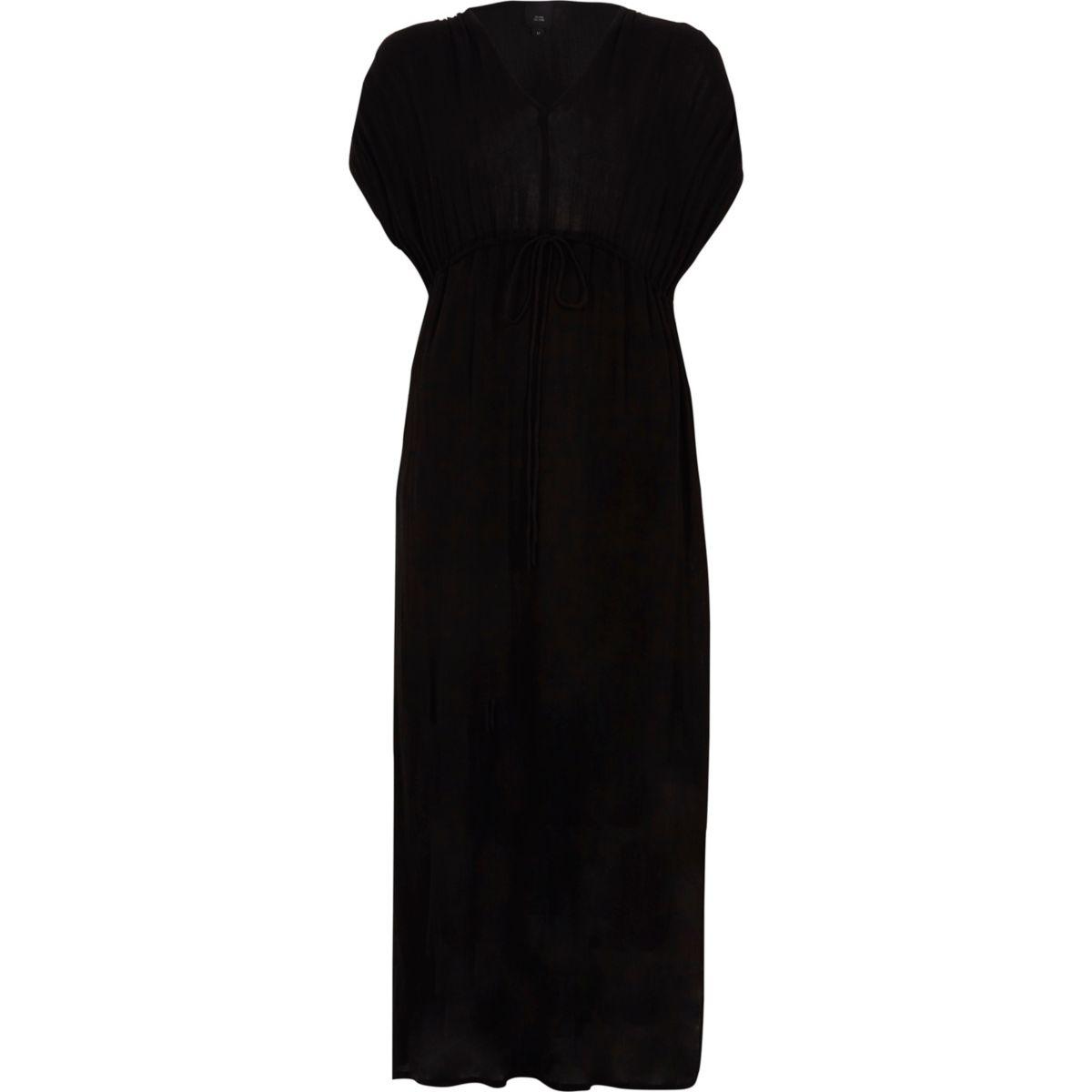 Black ruched sleeve tie waist maxi dress