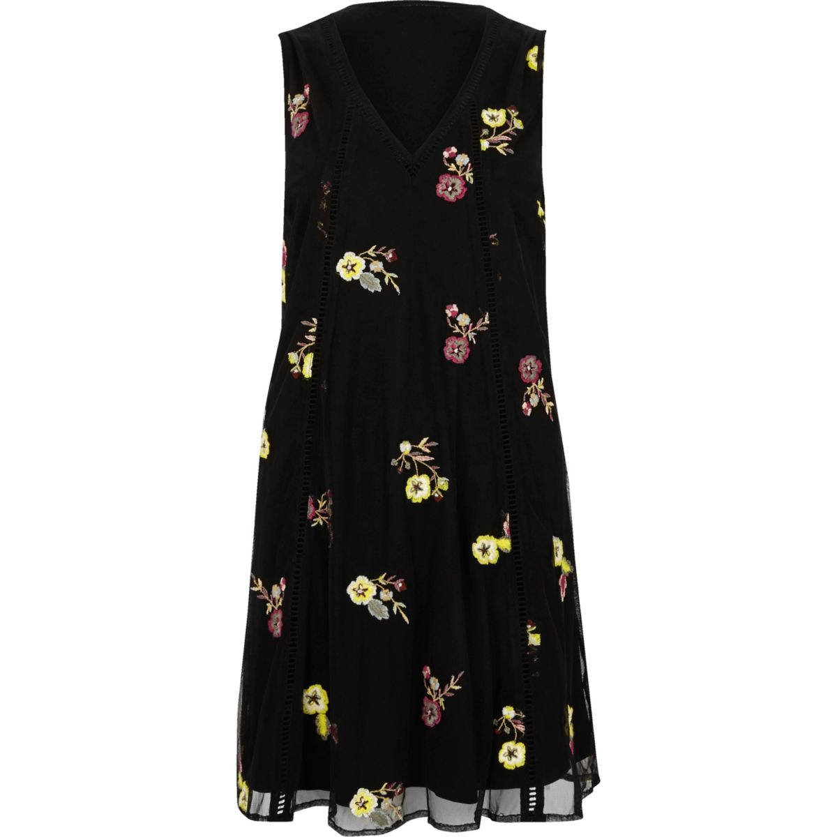 Black floral embroidered swing dress