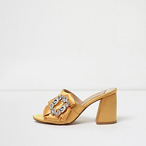 Yellow rhinestone trim block heel mules