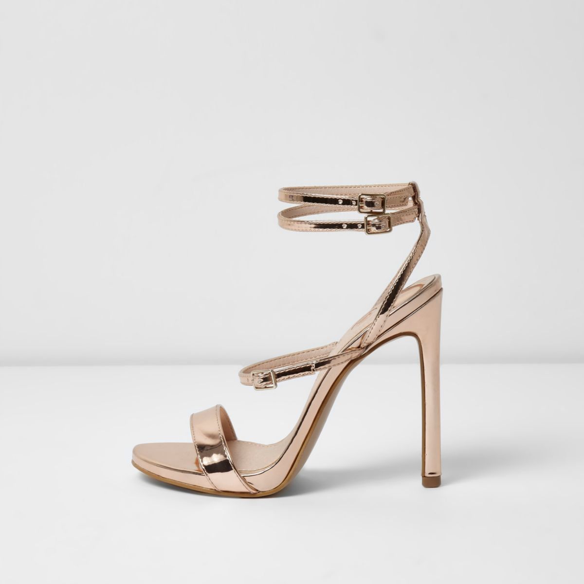 Gold metallic strappy sandals