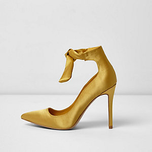 Yellow satin ankle tie up pumps