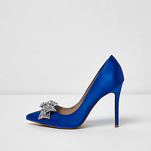 Blue satin rhinestone bow pumps