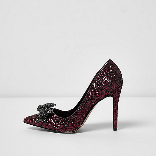 Dark red glitter diamante bow court shoes