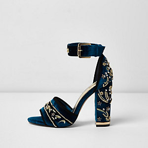 Blue velvet embellished block heel sandals