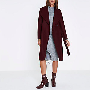 Dark red belted robe coat
