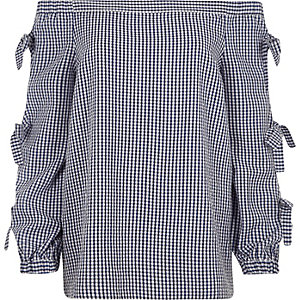 Blue check print bow sleeve bardot top