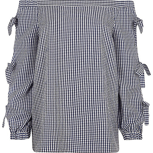 Blue check print bow sleeve bardot top