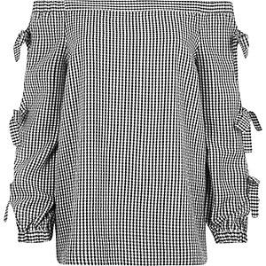 Black check print bow sleeve bardot top