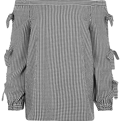 Black check print bow sleeve bardot top