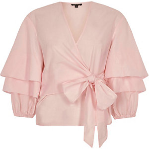 Pink puff frill sleeve tie front top