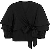 Black puff frill sleeve tie front top