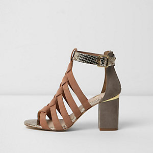 Light pink plaited cage front sandals