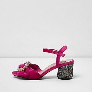 Pink velvet glitter block heel sandals