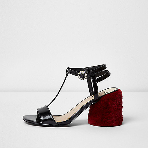 Black T-bar red fur block heel sandals