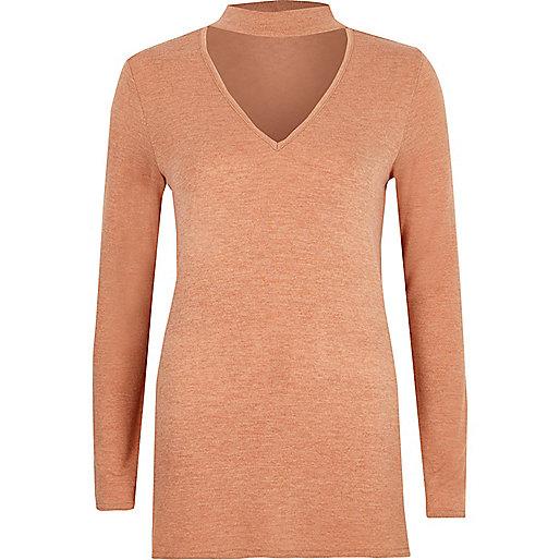 Light beige choker neck knit jumper