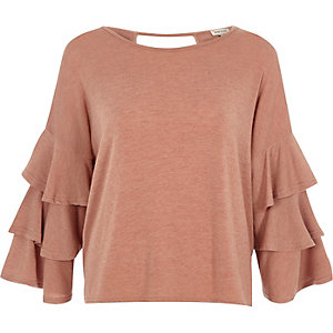 Beige knit tiered frill sleeve top